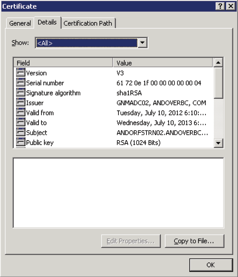 Figure 2: Use Certificate Details to Export Certificate